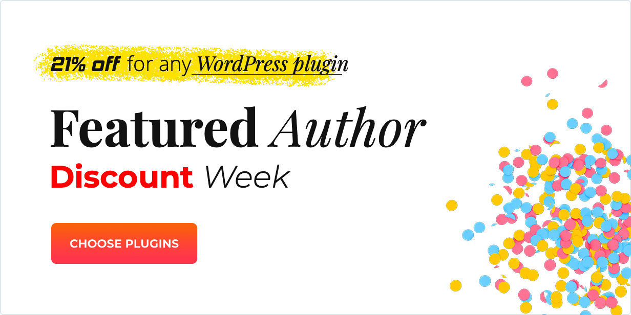 Discount week - 21% off for any WordPress plugin