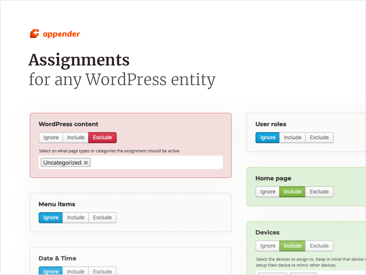 Assignments for any WordPress entity