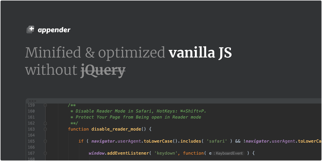 Minified & optimized vanilla JS without jQuery