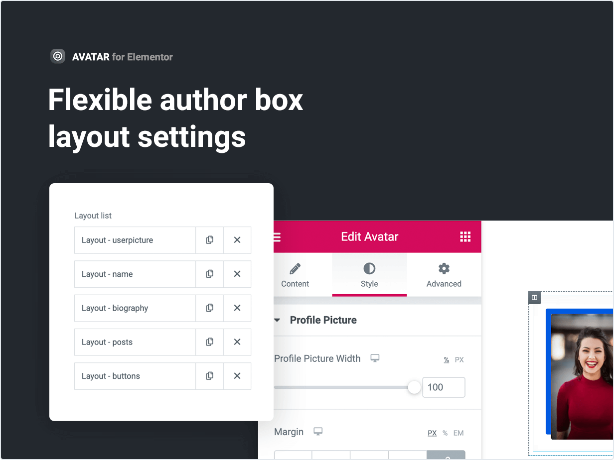 Flexible author box layout settings