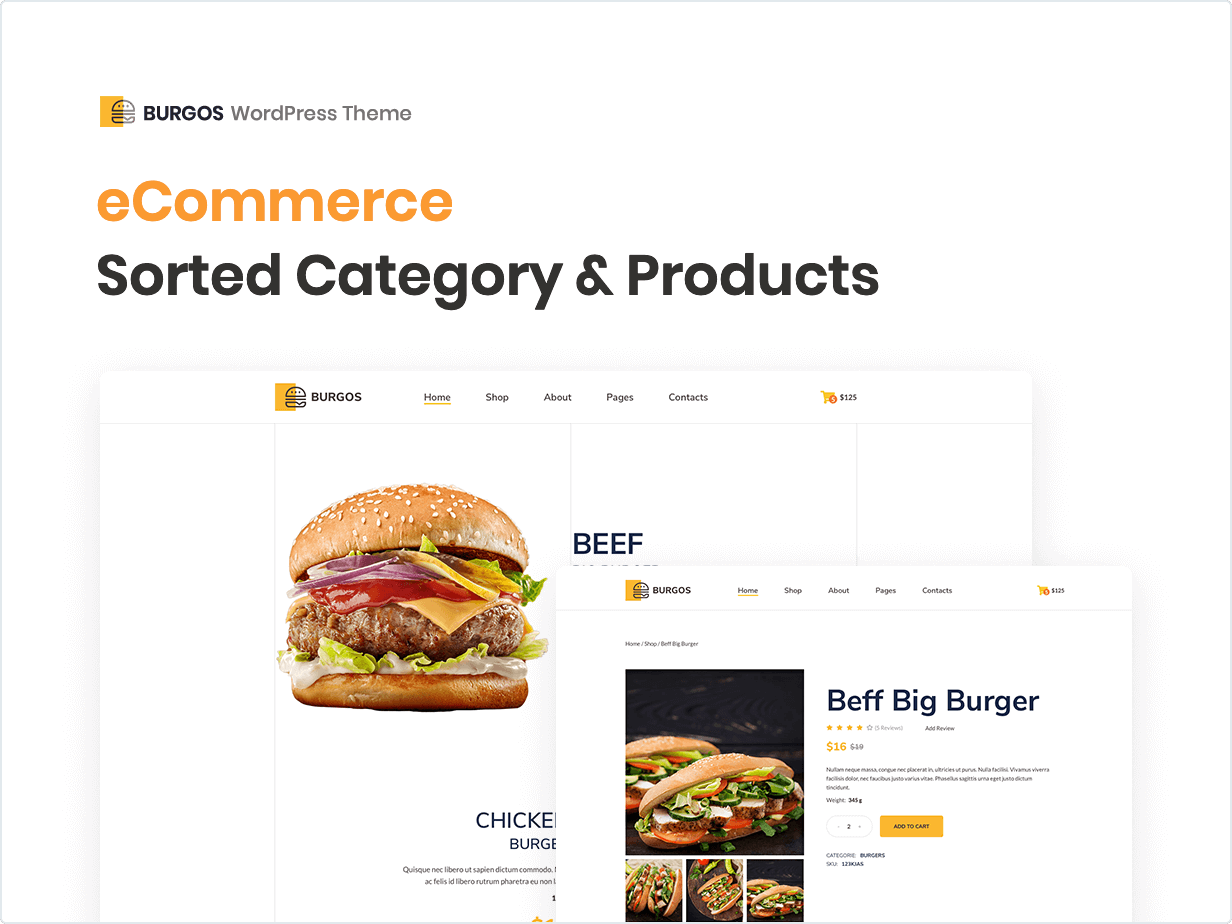 eCommerce Sorted Category and Products