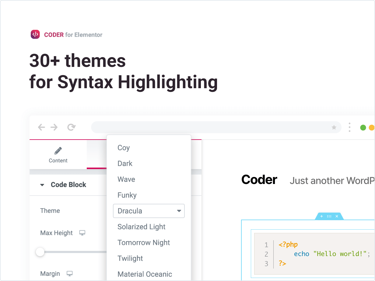 30+ themes for Syntax Highlighting