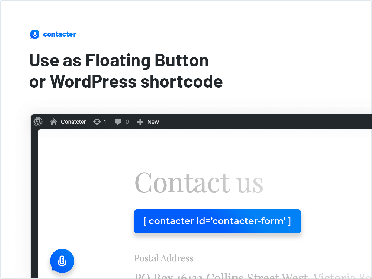 Use as Floating Button or WordPress shortcode