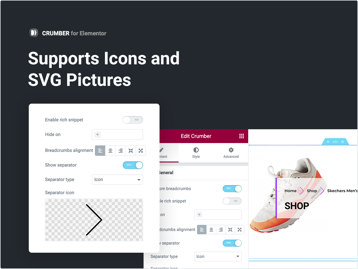 Supports Icons and SVG Pictures