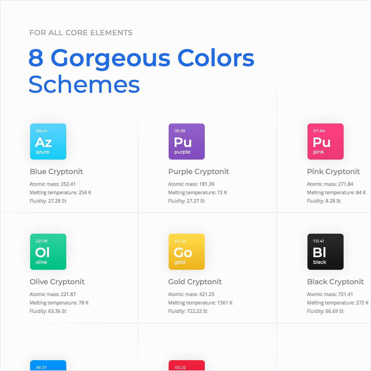 8 Gorgeous colors schemes for all core elements