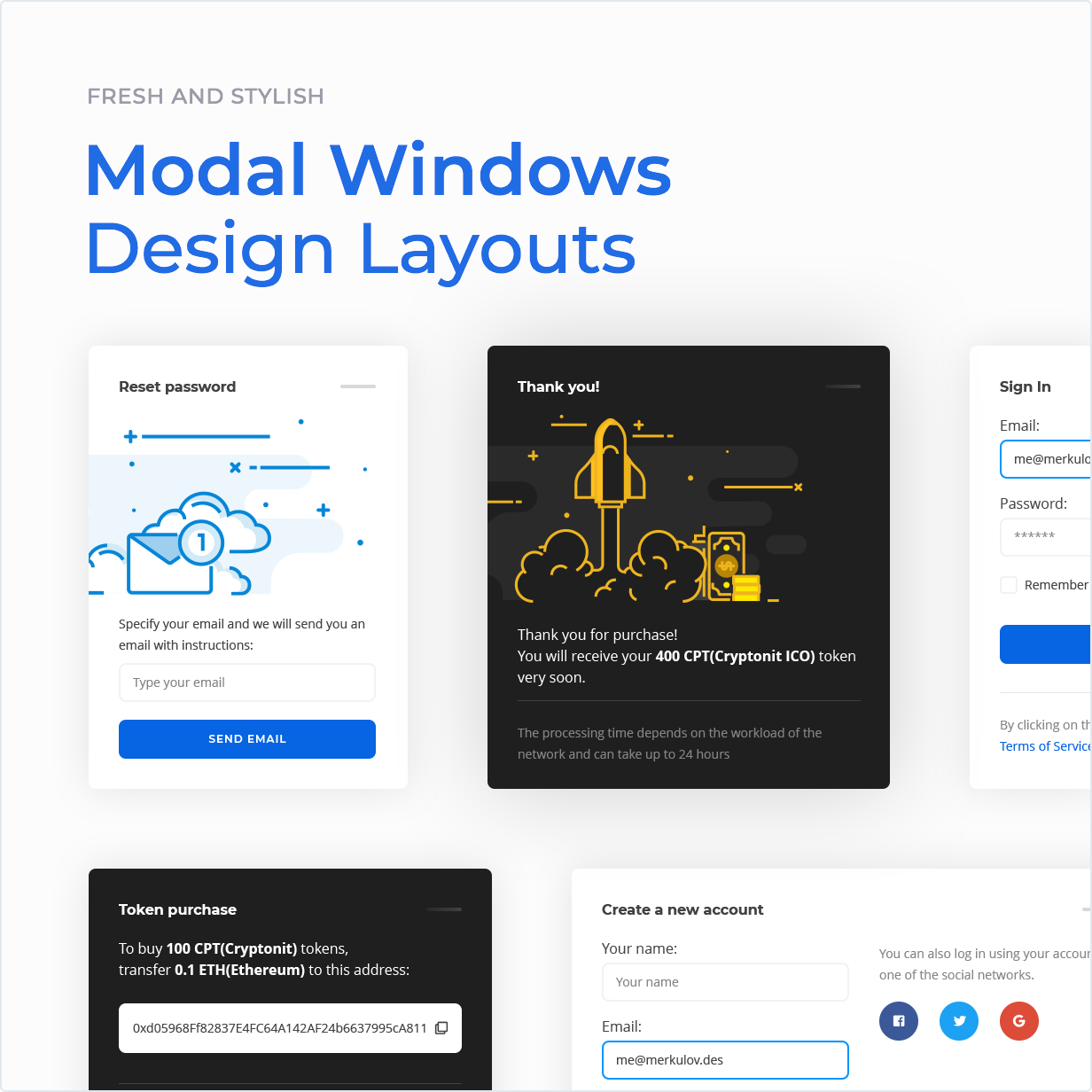 Fresh and stylish Modal windows design layouts