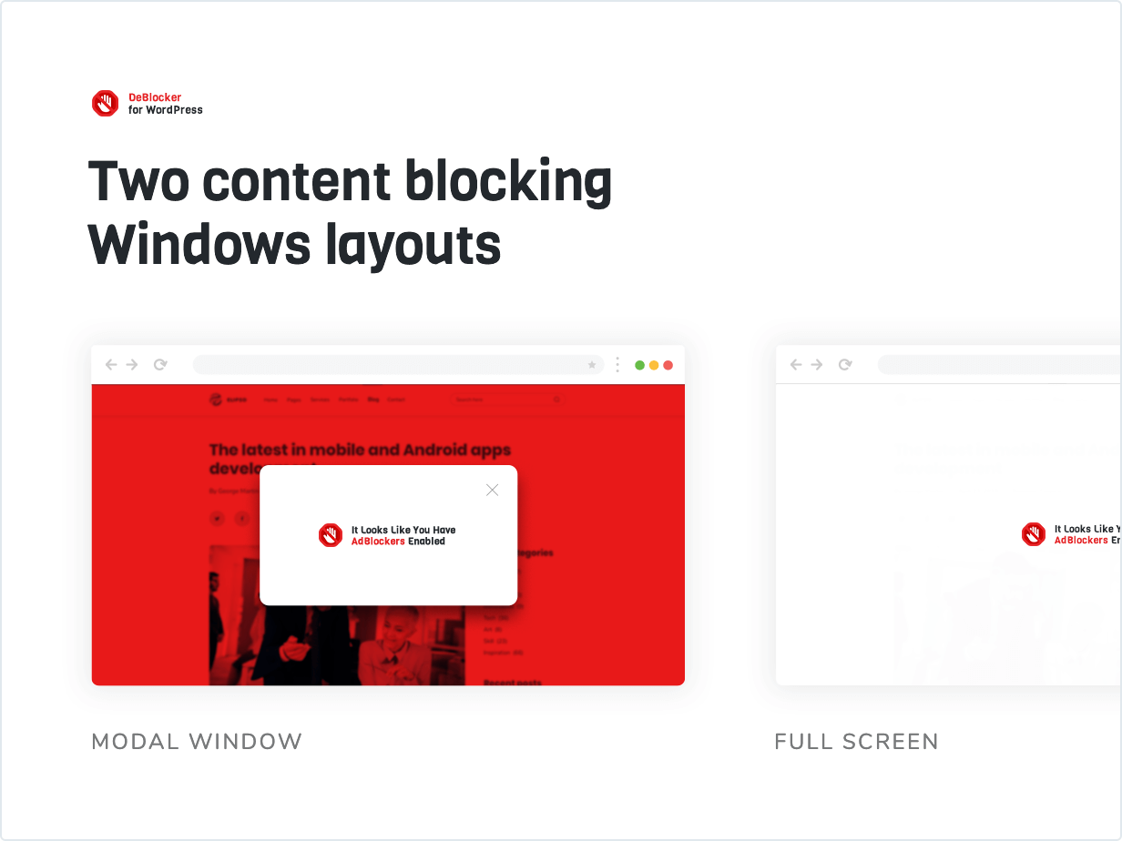 Two content blocking window layouts