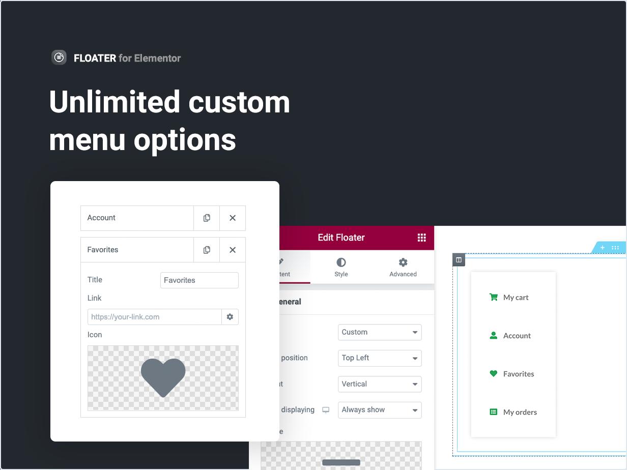 Unlimited custom menu options