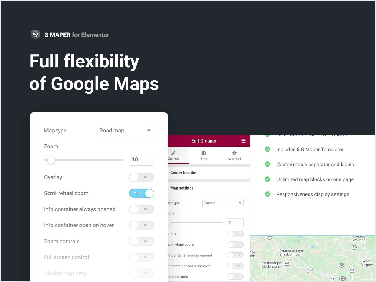 Full flexibility of Google Maps