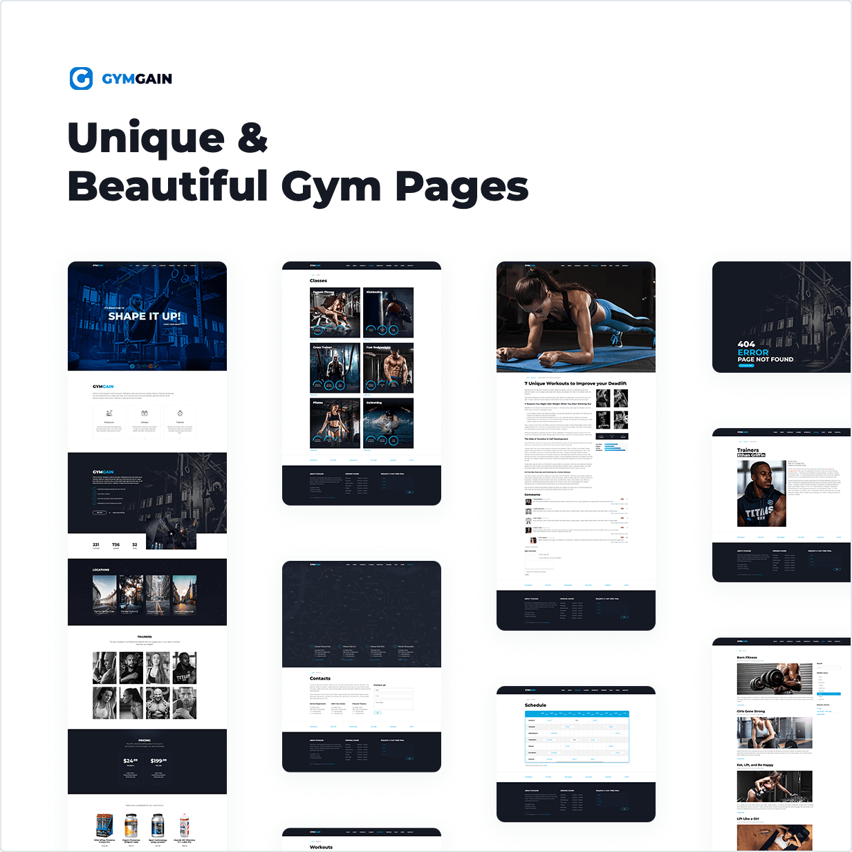 Unique & Beautiful Gym Pages