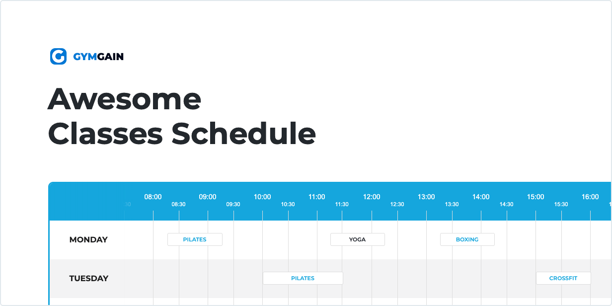 Sports Joomla Template have Awesome Classes Schedule