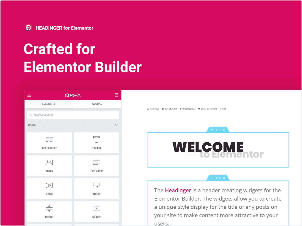 Headinger widgets Crafted for Elementor Builder