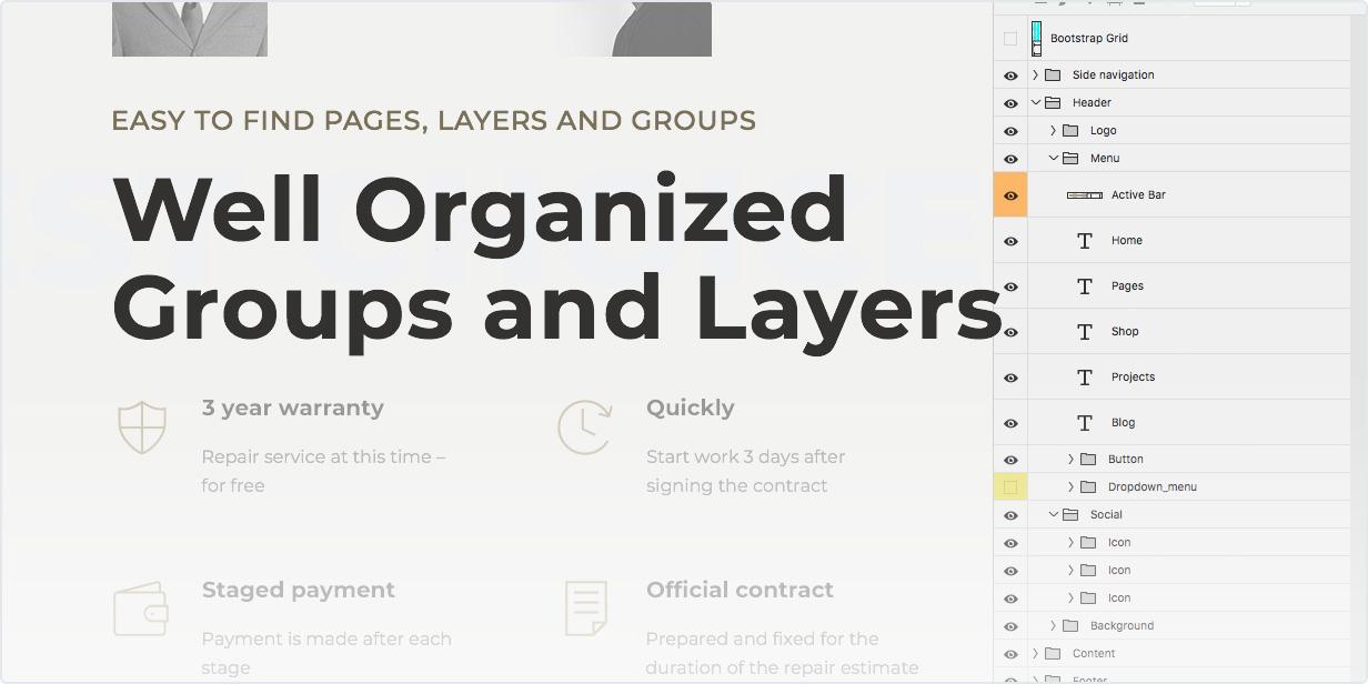 Facile à trouver des pages, des calques et des groupes – groupes et calques bien organisés