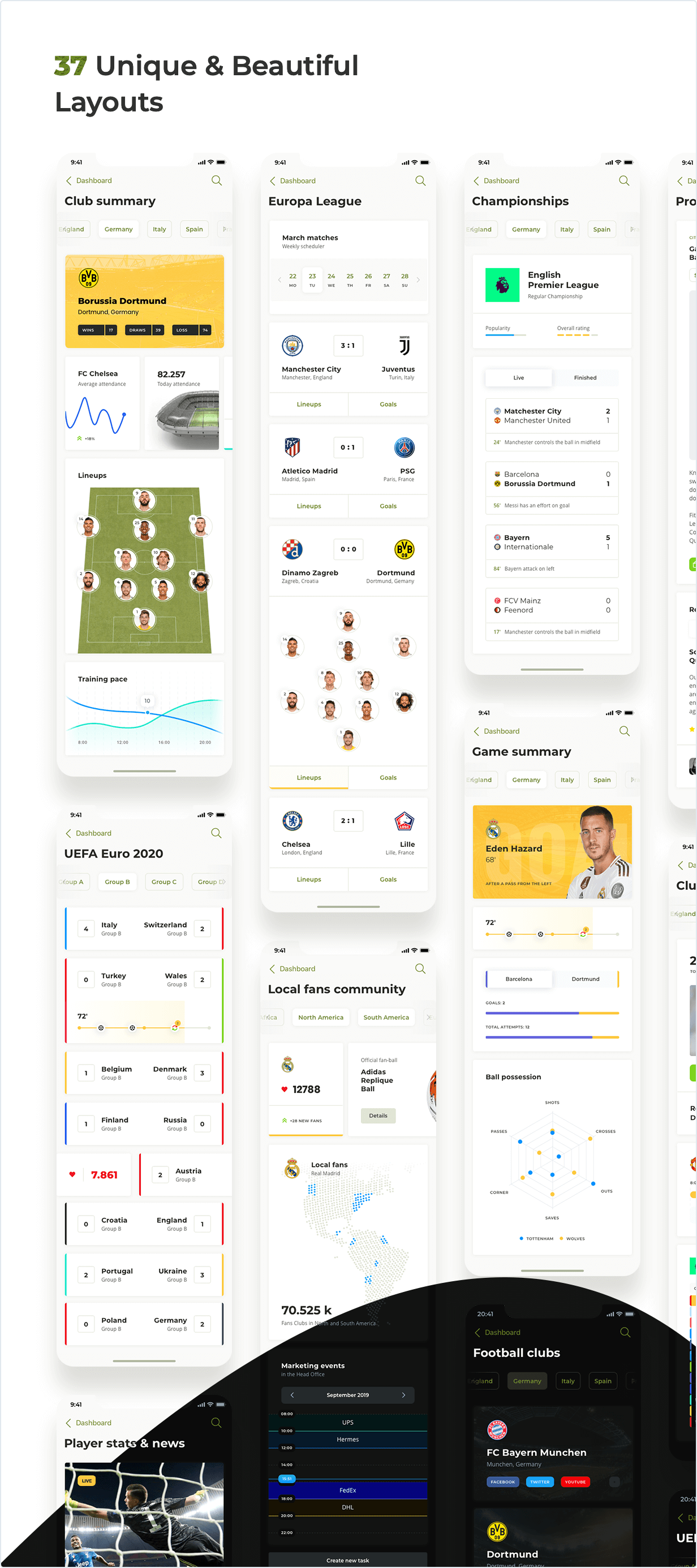 Soccer mobile app is a 37 Unique and Beautiful Layouts