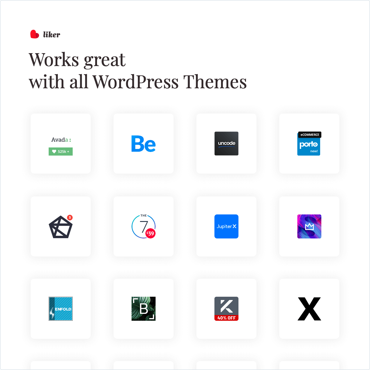 Ratings and likes for WordPress works great with all WordPress Themes