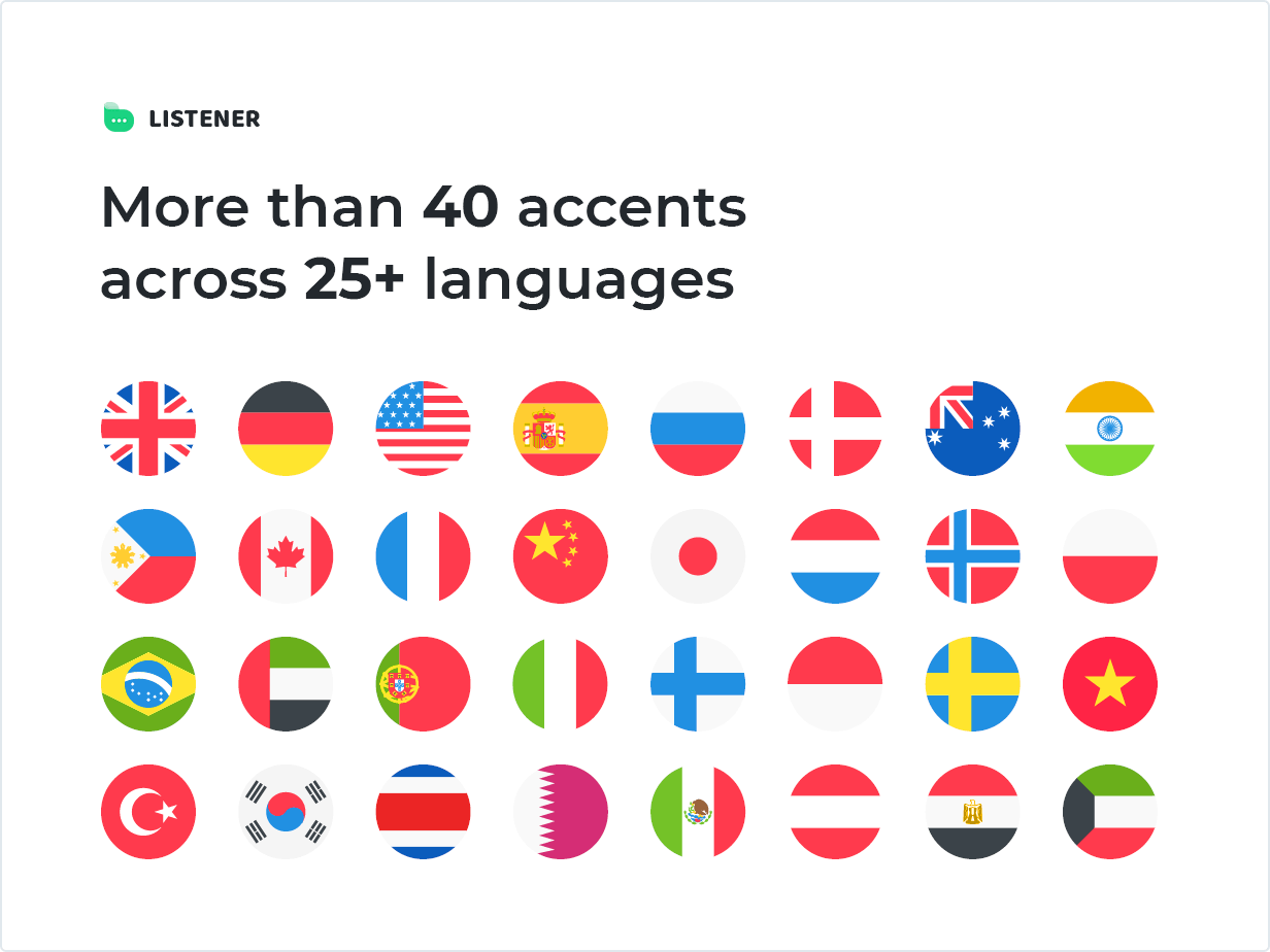 More than 40 accents across 25+ languages