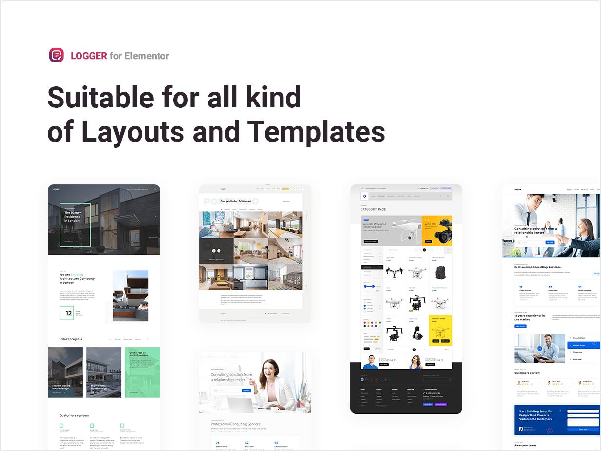 Adequado para todos os tipos de layouts e modelos
