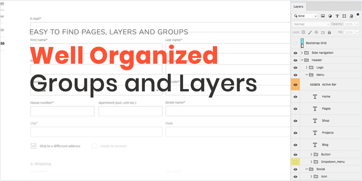 Easy to find pages, layers, and groups