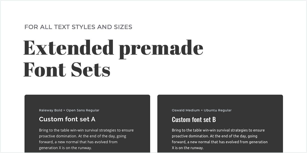 Extended premade font sets