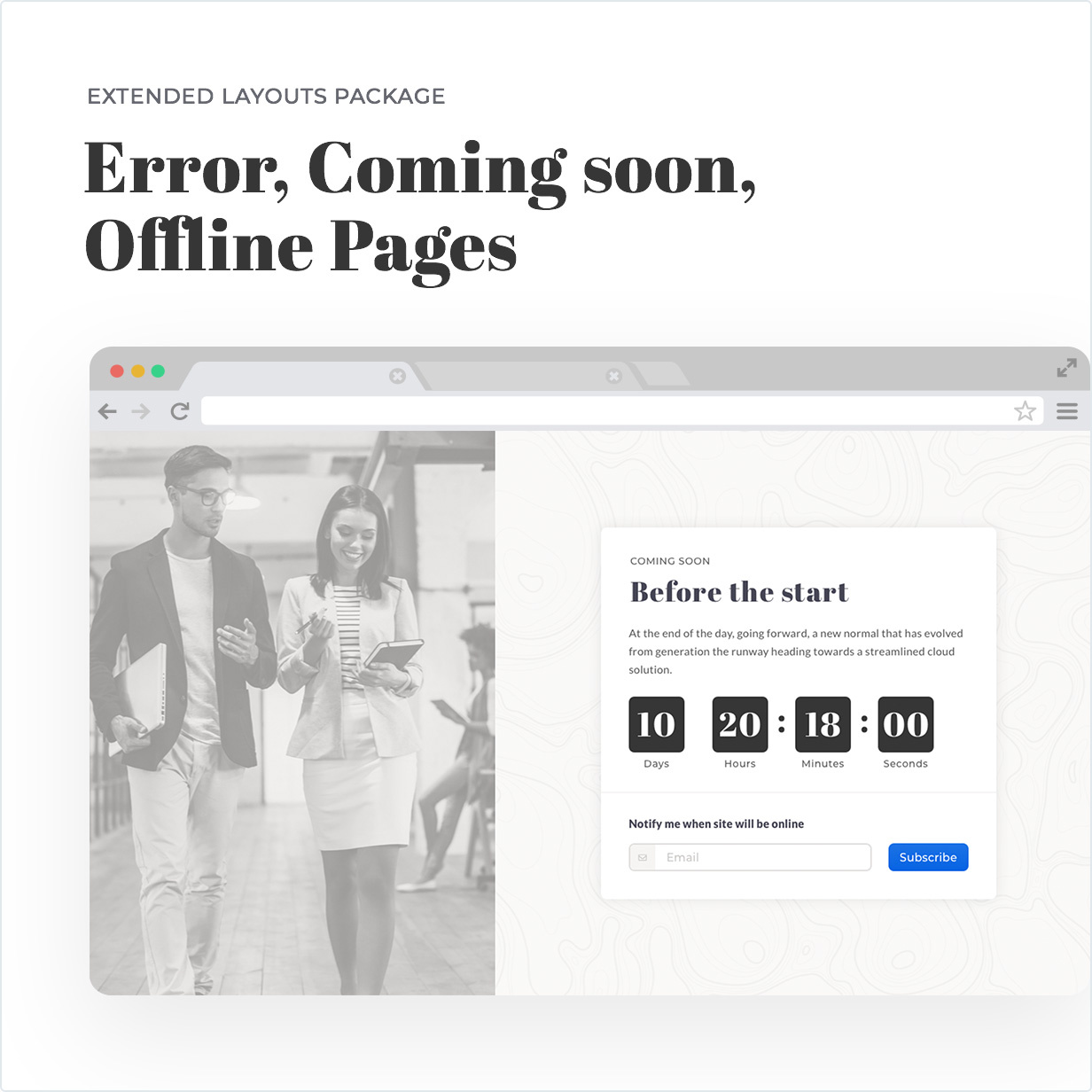 Coming Soon, Error, Offline Page