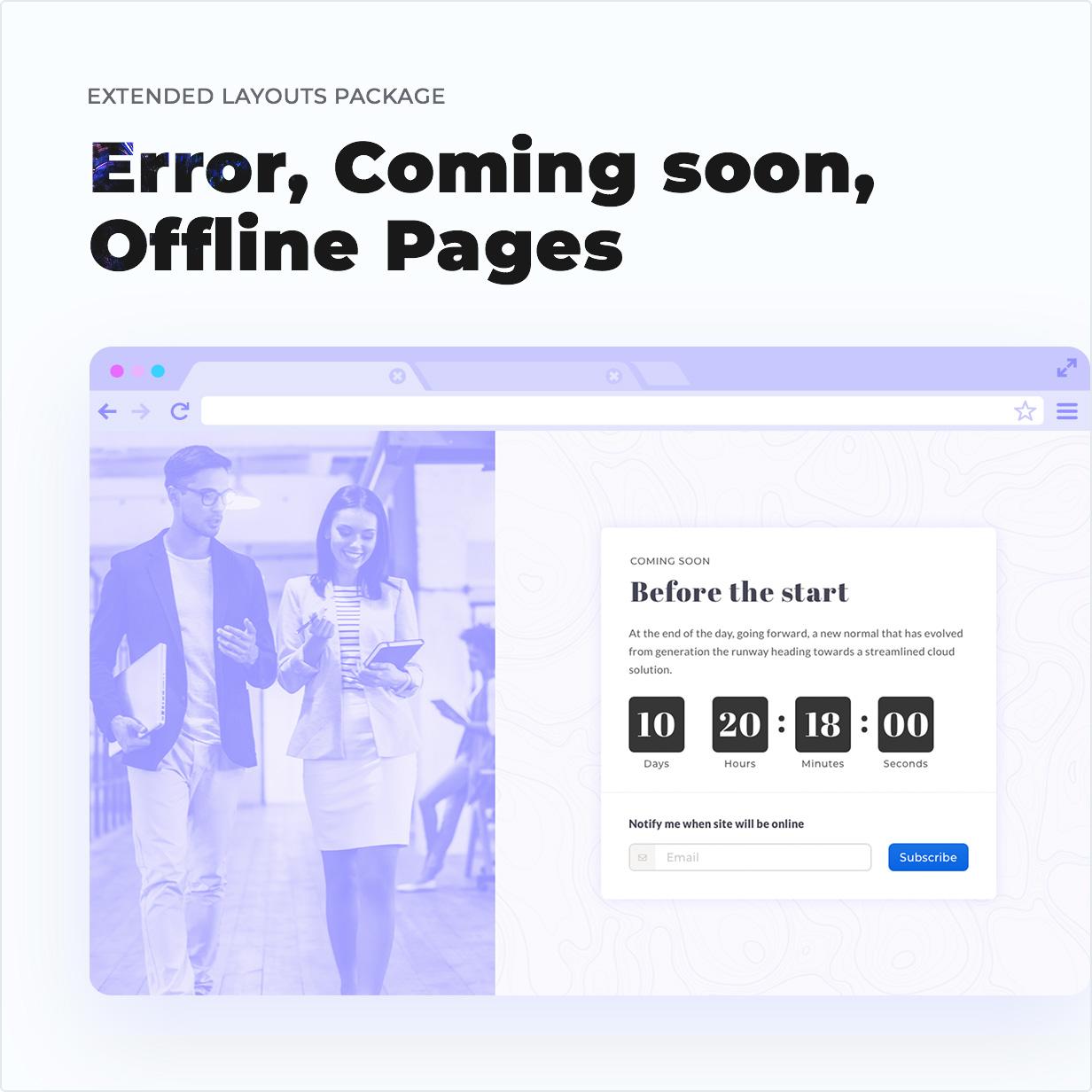 Coming Soon, Error, Offline Page