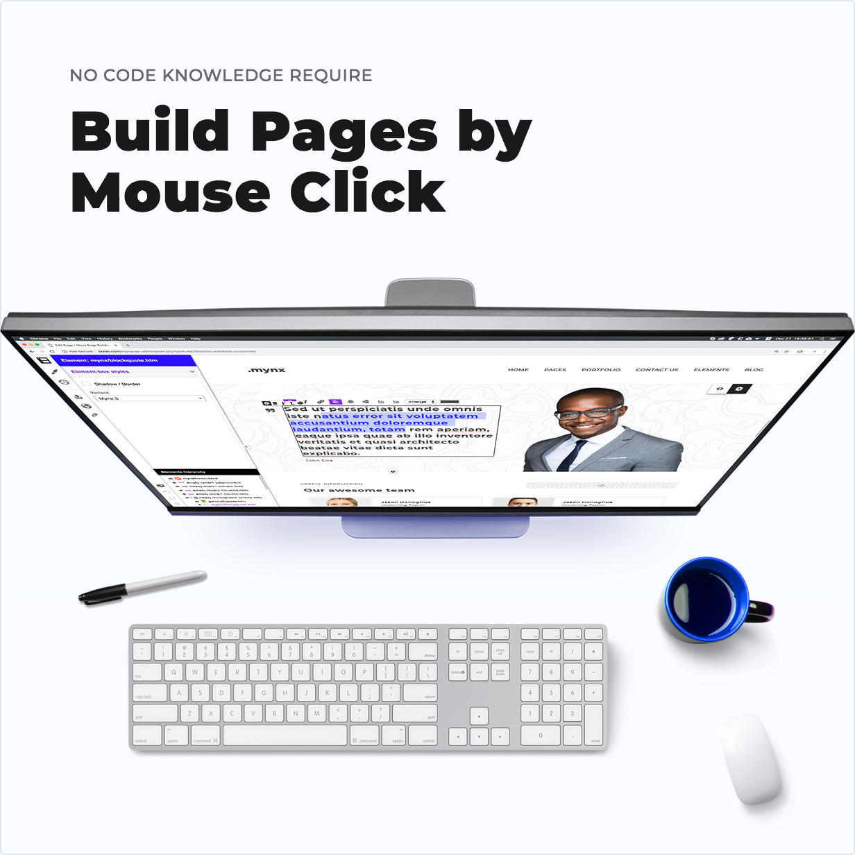 No Code Knowledge Require – Build Pages by Mouse Click