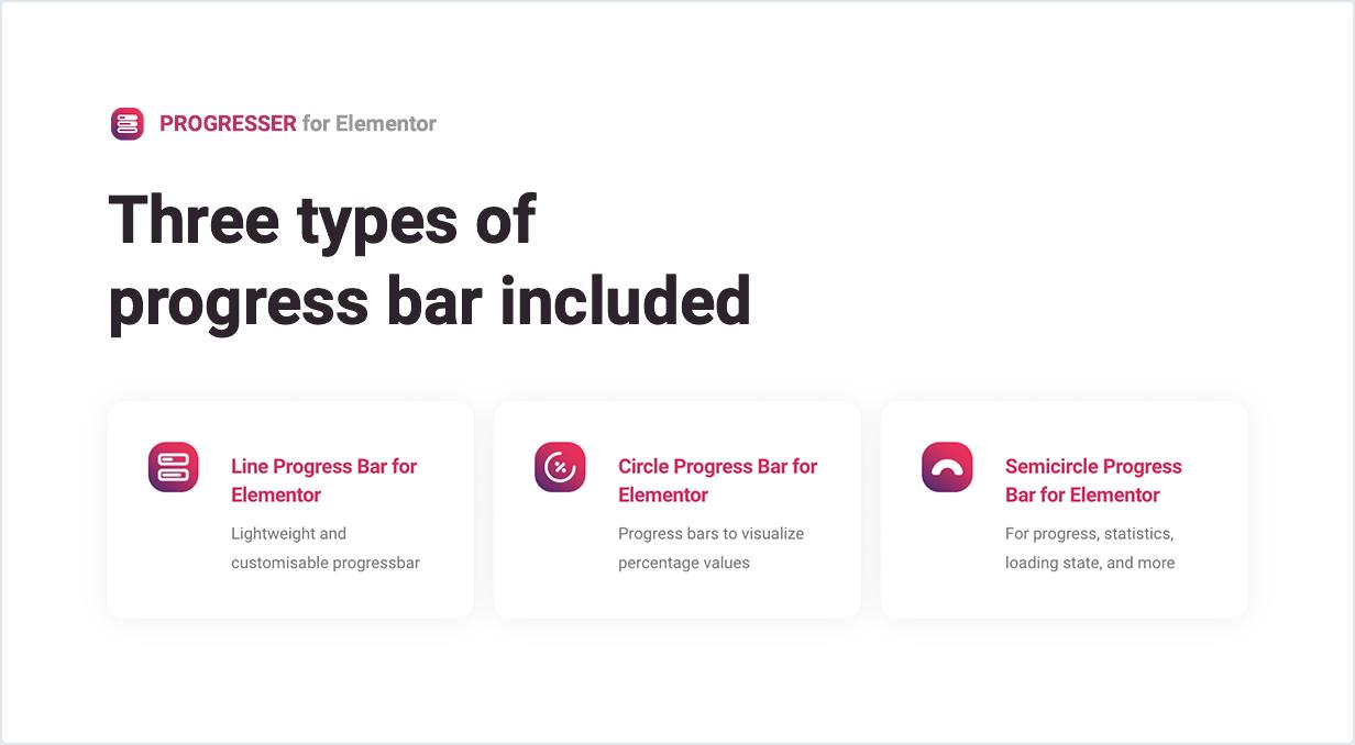 Three types of progress bars included