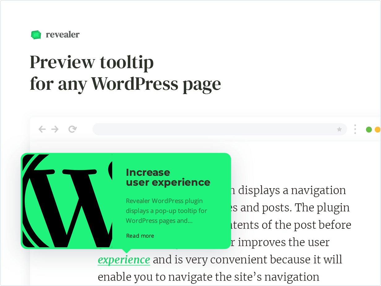 Preview tooltip for any WordPress page