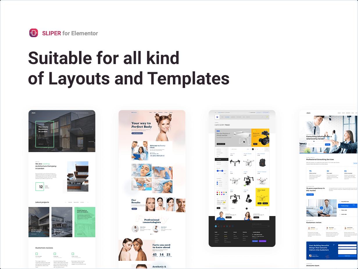 Adequado para todos os tipos de layout e modelos