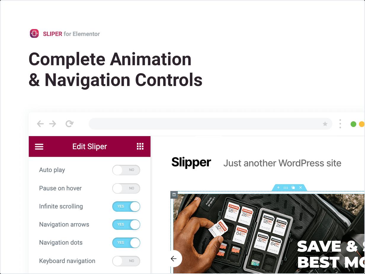 Controles completos de animação e navegação