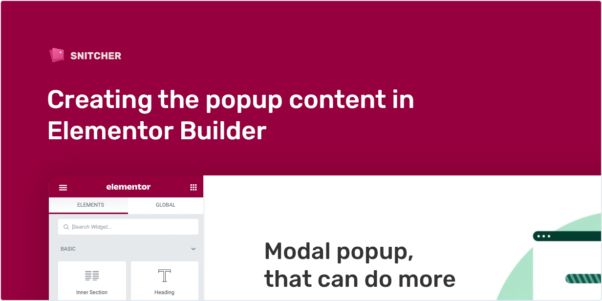 Creating the popup content in Elementor Builder