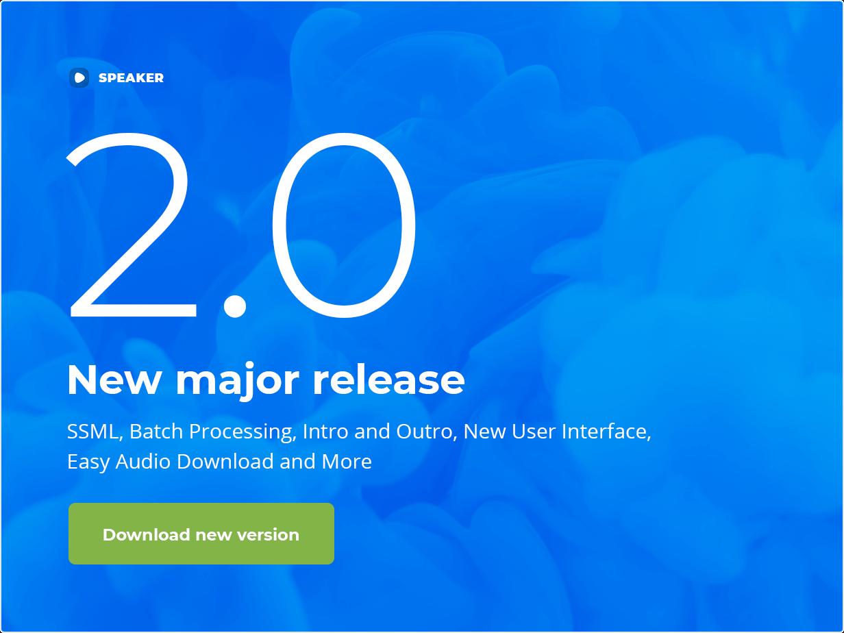Speaker - New major version available