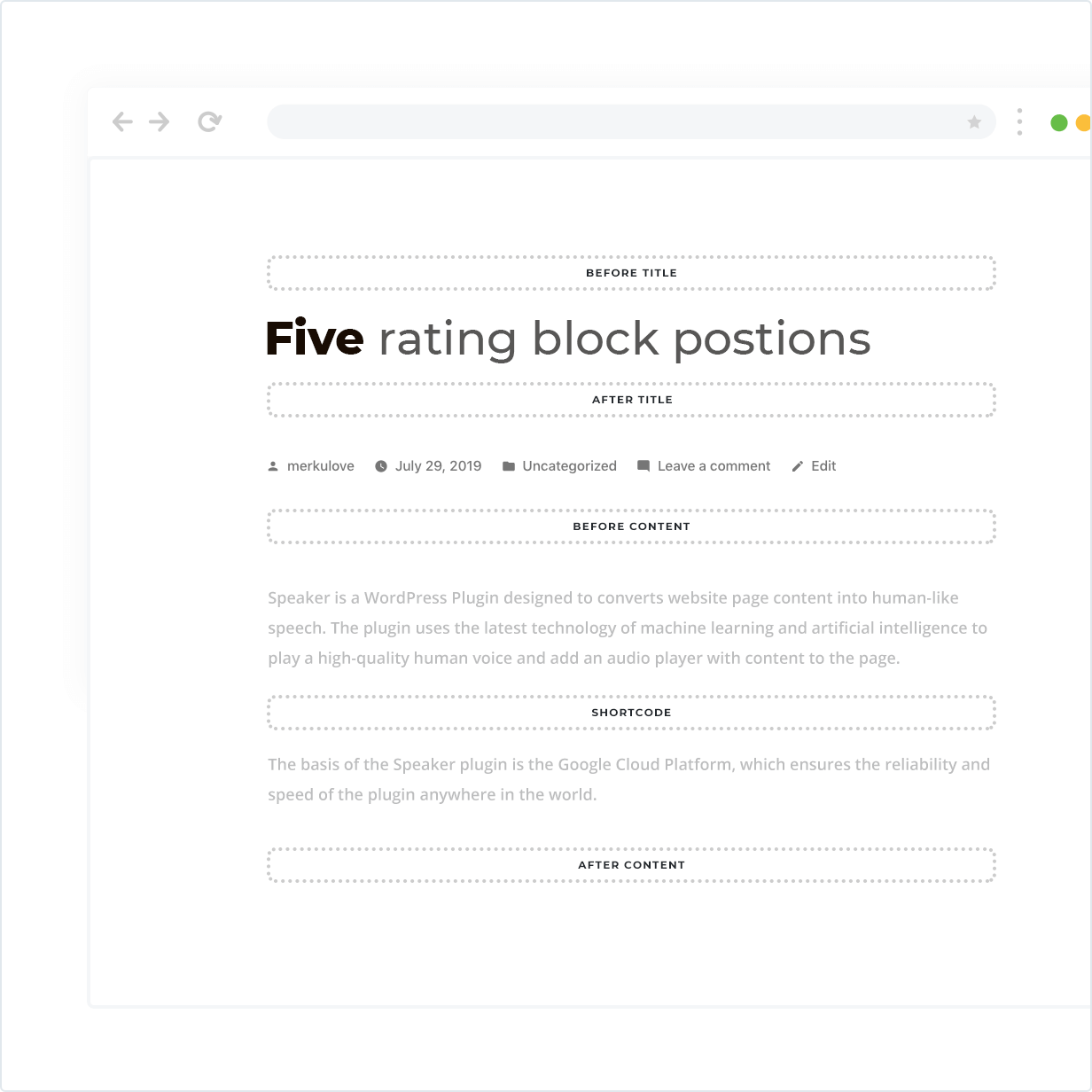 Five rating block position, widget and shortcode