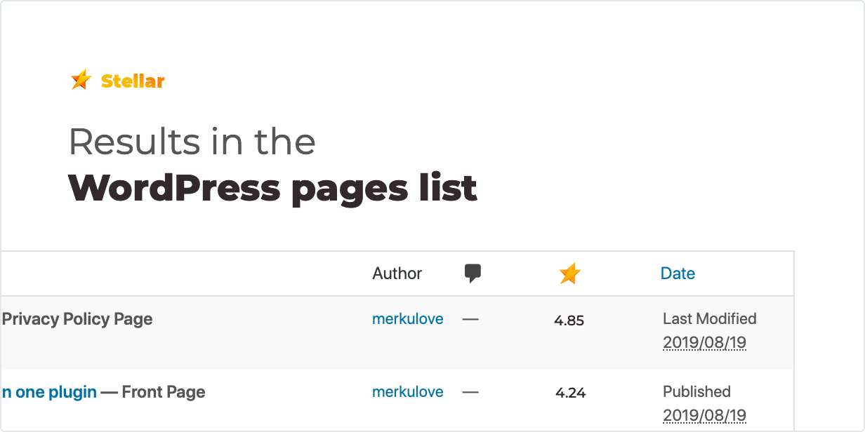 Results in the WordPress pages list