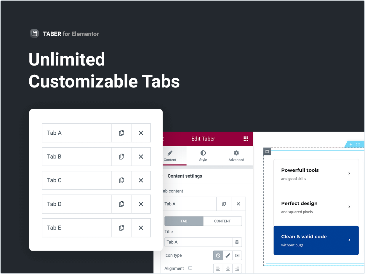 Unlimited Customizable Tabs