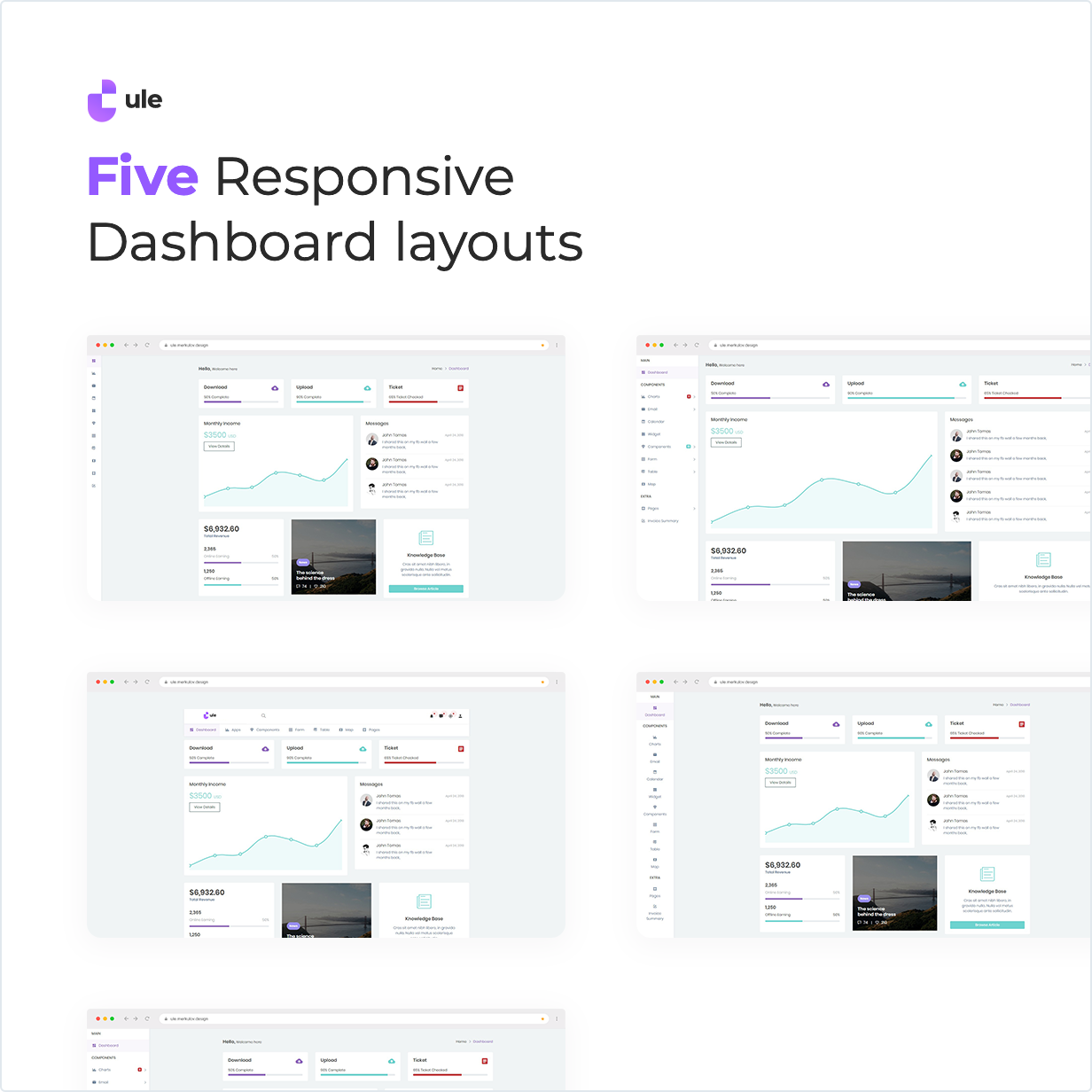 Ule Bootstrap Dashboard has Five Responsive Dashboard Layouts