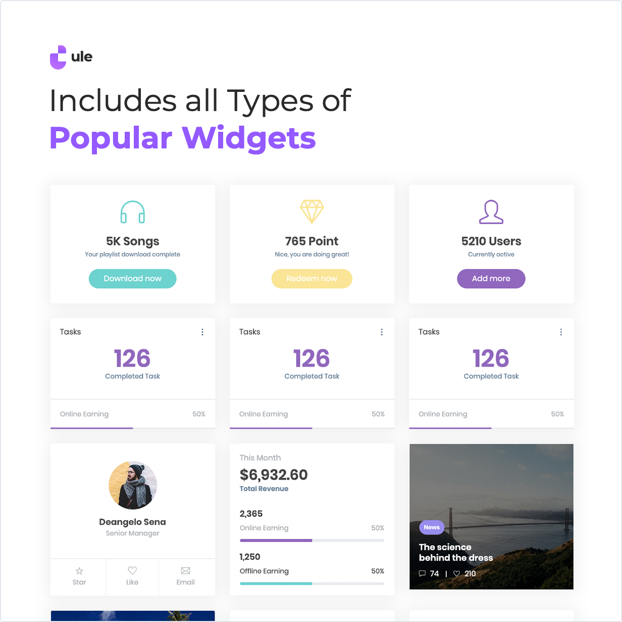 Ule Bootstrap Dashboard Includes all Types of Popular Widgets
