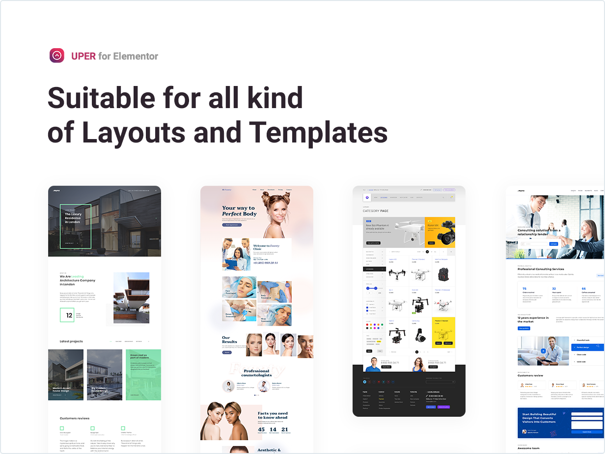 Suitable for all kinds of Layouts and Templates
