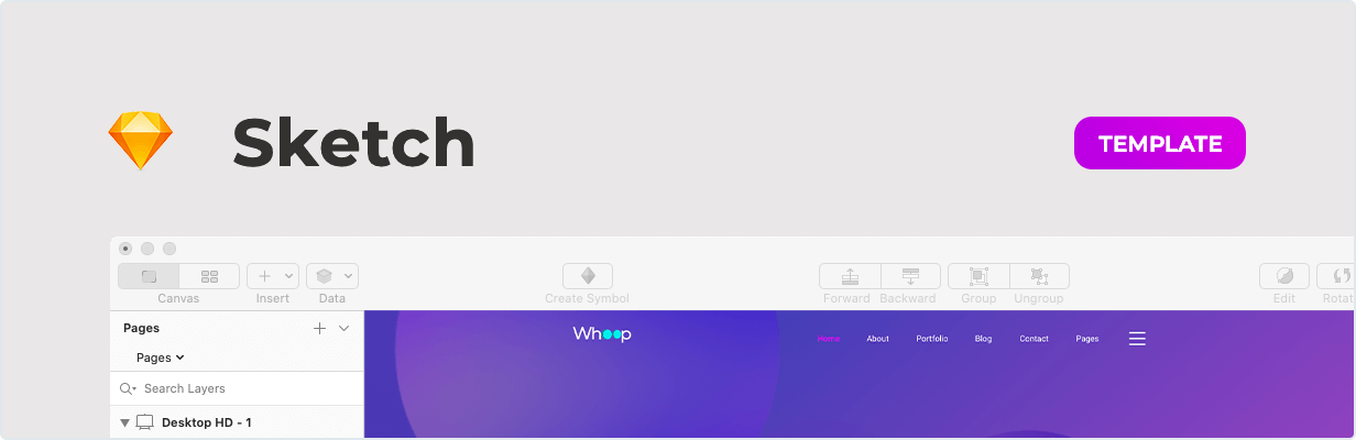 Whoop – Creative Agency Template for Sketch