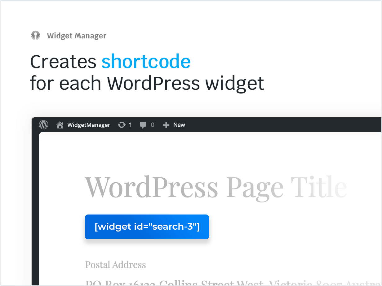 Creates Shortcode for each WordPress widget