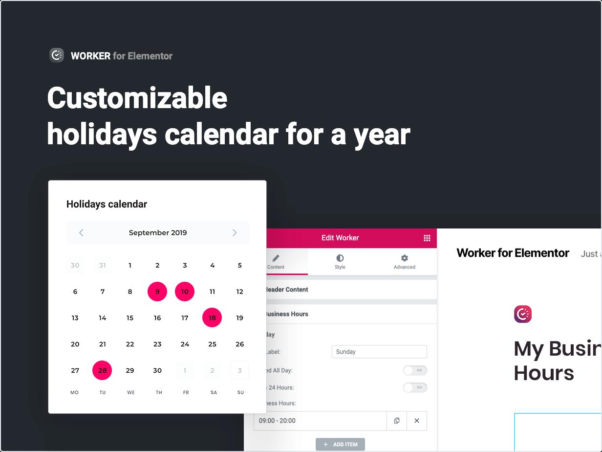 Customizable holidays calendar for a whole year
