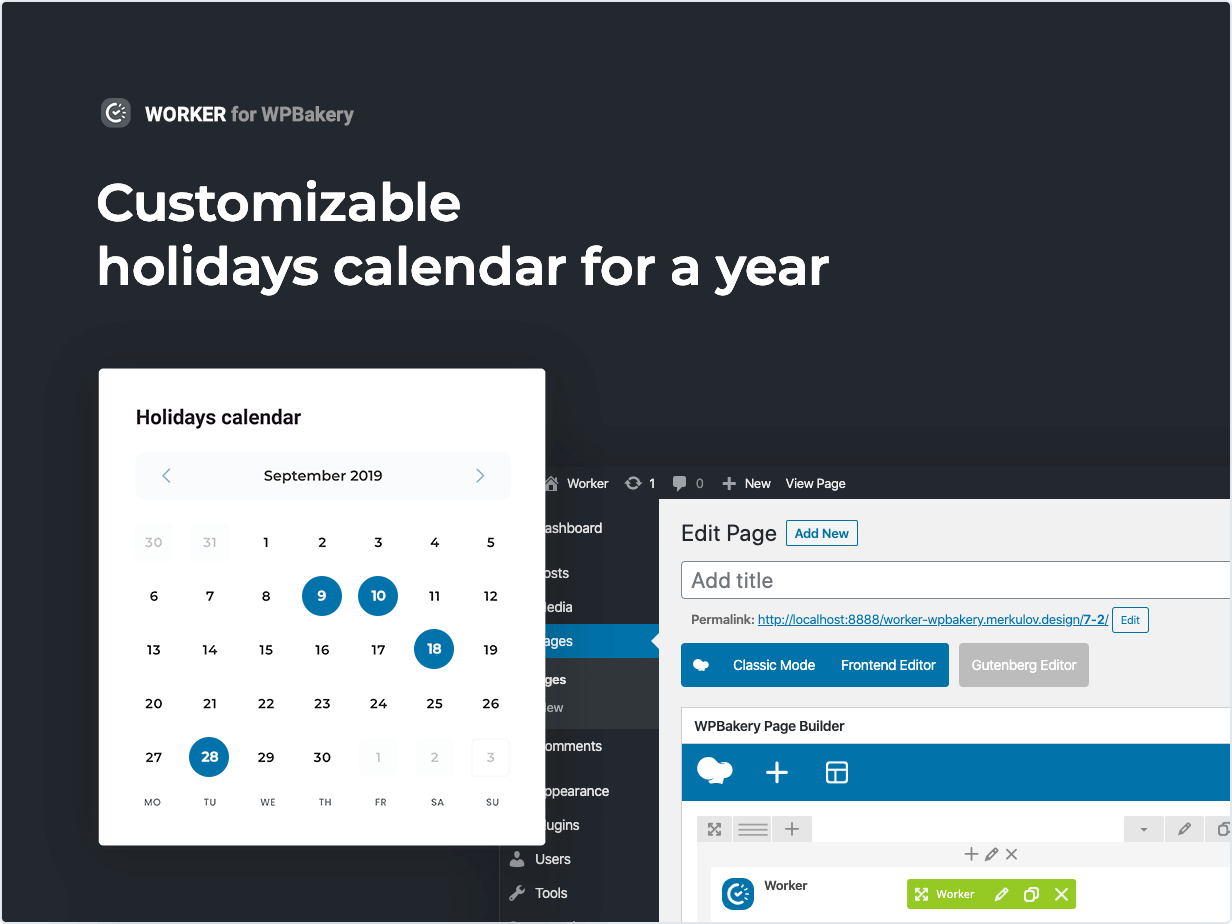 Customizable holidays calendar for a whole year